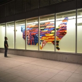 """Going Cascade"" (2014) Site-specific Knit-mural installation"